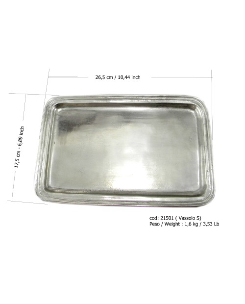 """Rectangular tray in pewter ARG 26.5 x 17.5 cm / 6 """"7/8 x 10"""" 1/2 inches"""