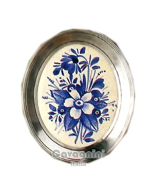 Piattino ovale fiori blu