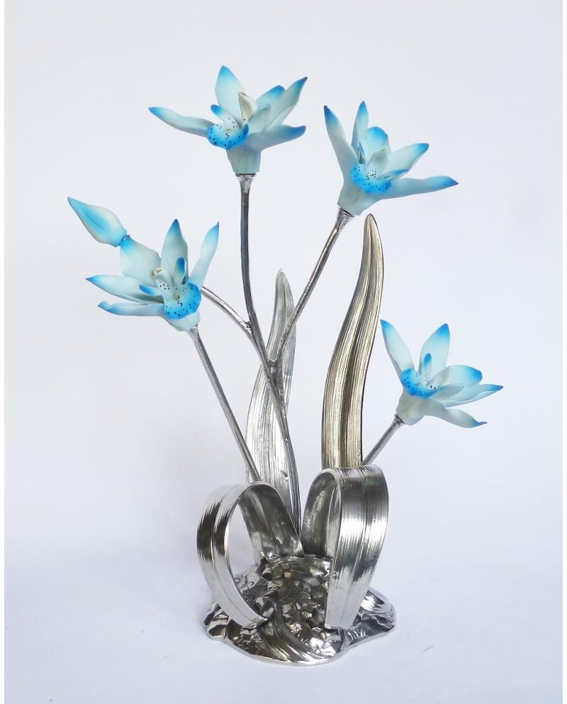 Gruppo orchidea in peltro e ceramica