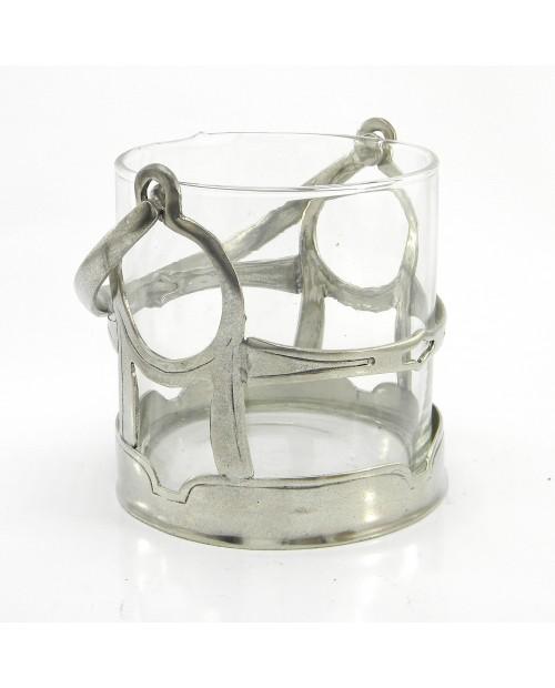 Secchiello liscio vetro in peltro