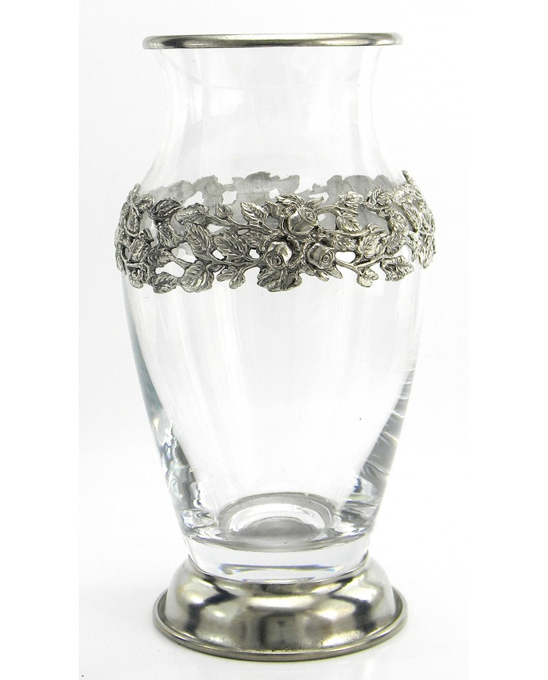 Vase, frame, pewter and glass