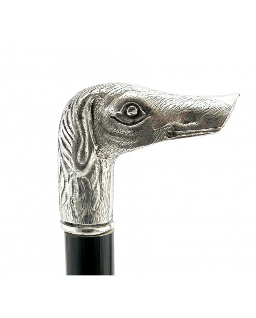 Walking stick, pewter, greyhound new