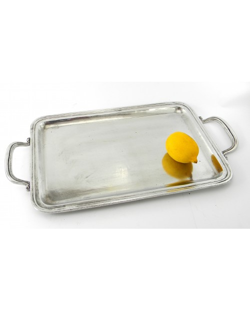 Large rectangular tray in pure pewter