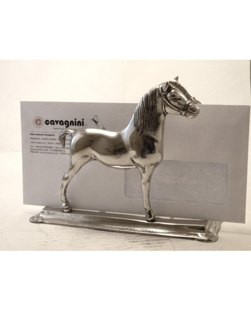 Mail holder with pewter horses