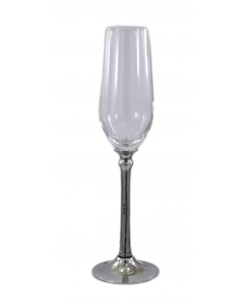 Glass long stem, flute, Pewter