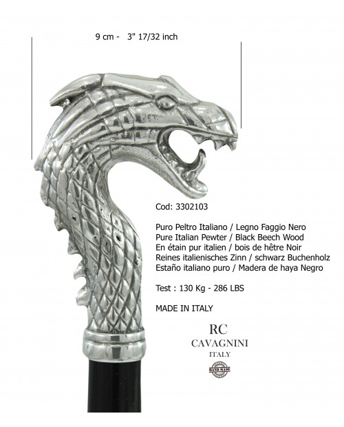 Elegant sticks, for men and women. Bad dragon stick, handmade in Italy Cavagnini