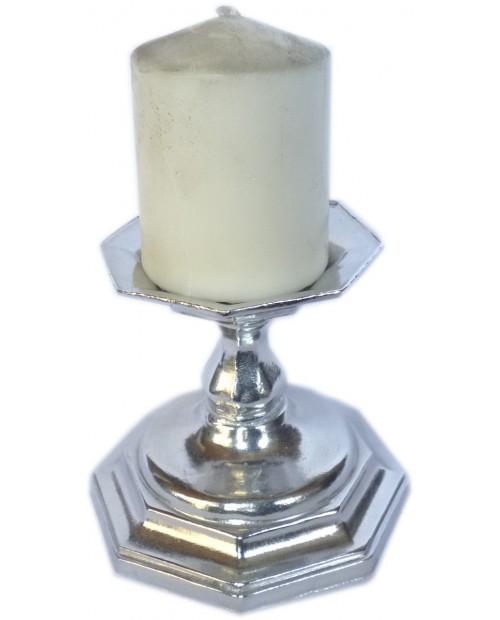 hexagonal pewter candlesticks